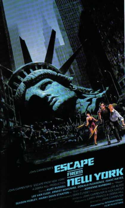 Escape from New York (1981) Action , Sci-Fi - R : In 1997, when the US President crashes into Manhattan, now a giant maximum security prison, a convicted bank robber is sent in for a rescue.