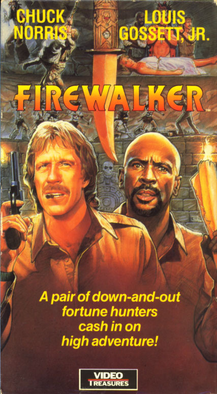 Firewalker (1986)  Action, Adventure, Comedy - PG : A pair of adventurers try to track down an ancient Aztec/Mayan/Egyptian/Apache hoard of gold.