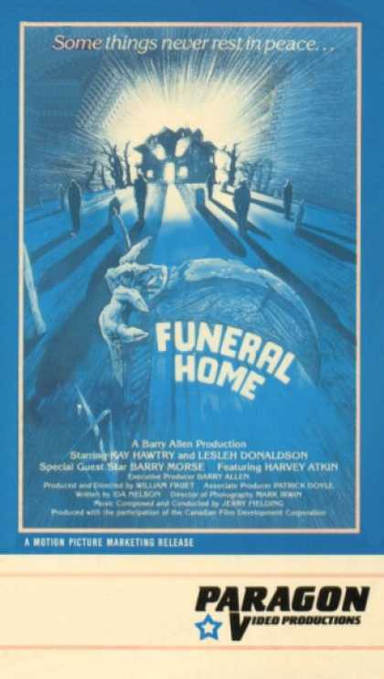 Funeral Home (1980) Horror , Thriller - R : A young woman arrives at her grandmother's house, which used to be a funeral home, to help her turn the place into a bed-and-breakfast inn. After they open, however, guests begin disappearing or turning up dead.