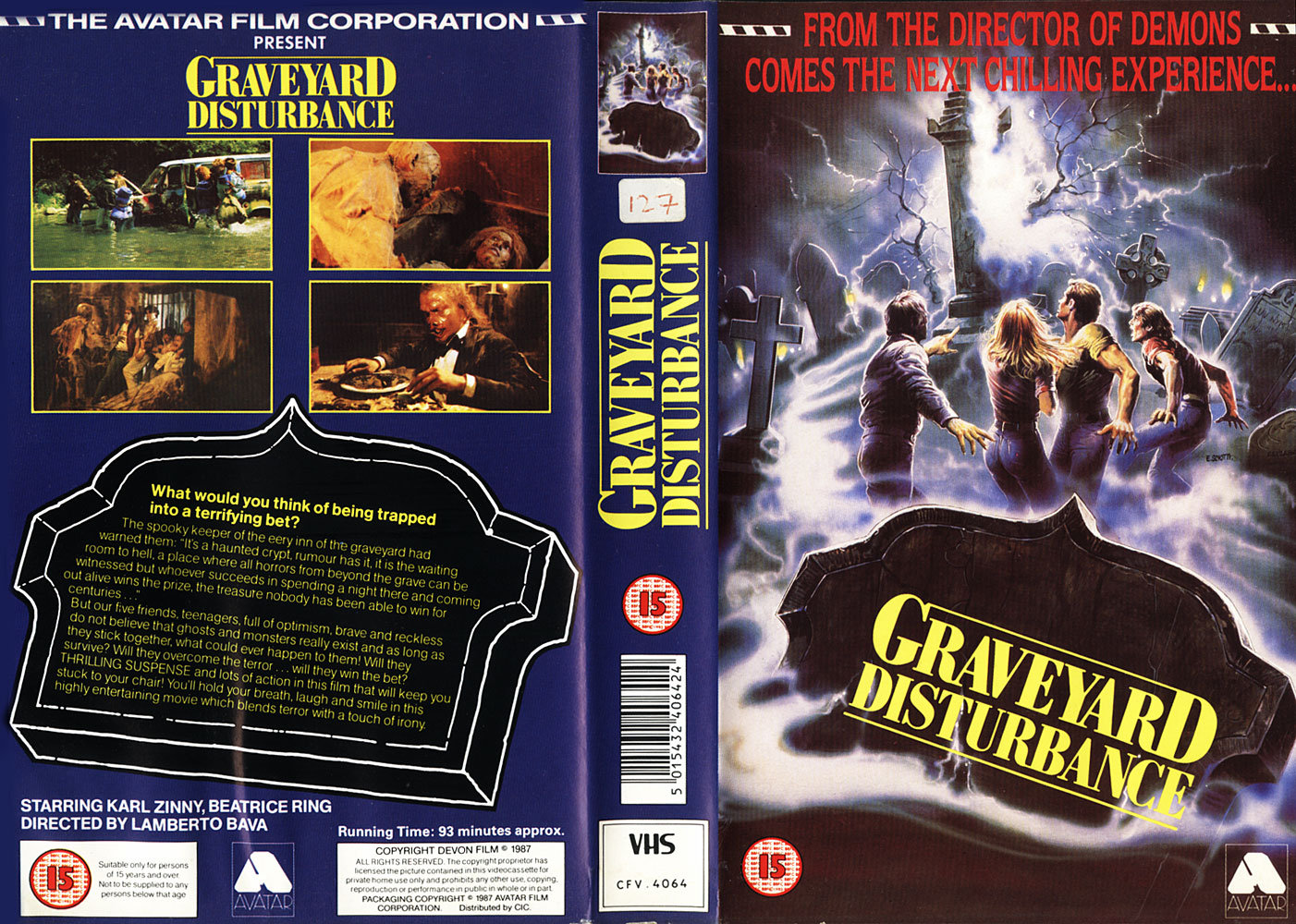 Graveyard Disturbance (1987) Horror , PG : Five young robbers spend a whole night in a dark catacomb to win a priceless treasure. They will have to fight against lots of ferocious zombies and vampires. At the end they will meet the Death in person! - ( Made for cable-TV ) -