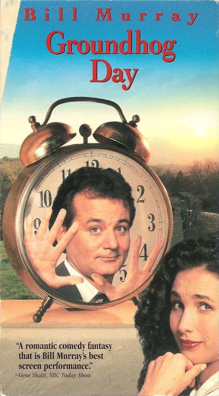 Groundhog Day (1993)  Comedy, Drama, Fantasy - PG : A weatherman finds himself living the same day over and over again.