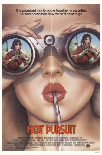 Hot Pursuit (1987) Comedy - PG-13 , Young Danny is following his rich girlfriend's family to the Caribbean. But suddenly he simply must take a chemistry test and cannot go with them. After they have left, he gets a leave from his professor and takes a plane to find them. But he is not quite sure where they are, and meets smugglers, crazy captains and murderers.