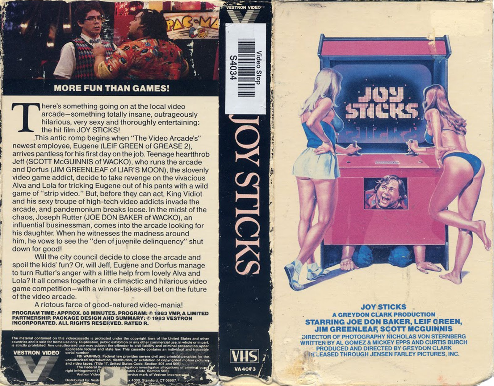 Joysticks (1983) Comedy - R : When a top local businessman and his two bumbling nephews try to shut down the town's only video arcade, arcade employees and patrons fight back.