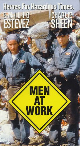 Men at Work (1990) Action | Comedy | Crime PG-13 , Carl and James are two pleasant but unambitious garbage men. Carl has a telescope with which he observes his neighbors. One evening he sees a man giving a female neighbor a hard time. As she leaves he shoots the man with a pellet gun. Hiding, he and James miss two men strangling the man and leaving with the body. When he appears in a can on their route they are afraid and hide the body, fearing that they may be implicated in the death. Trying to crack the case, they spy on the woman, join up with a slightly to majorly crazed Vietnam vet, kidnap a pizza man and help to protect the ecology.