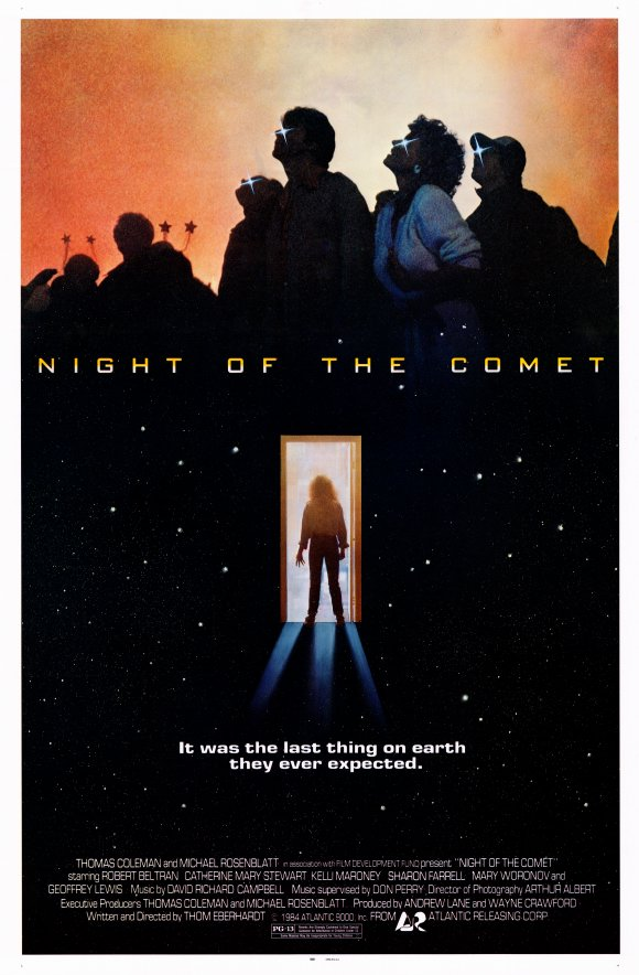 Night of the Comet (1984)  Comedy, Horror, Sci-Fi  - PG-13 :  A comet wipes out most of life on Earth, leaving two Valley Girls to fight the evil types who survive.