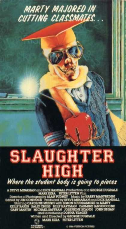 Slaughter High (1986) Horror, Thriller - R : Eight different people are invited to their 10-year high school reunion at their now-closed down high school where a former student, disfigured from a prank gone wrong, is there to seek revenge.