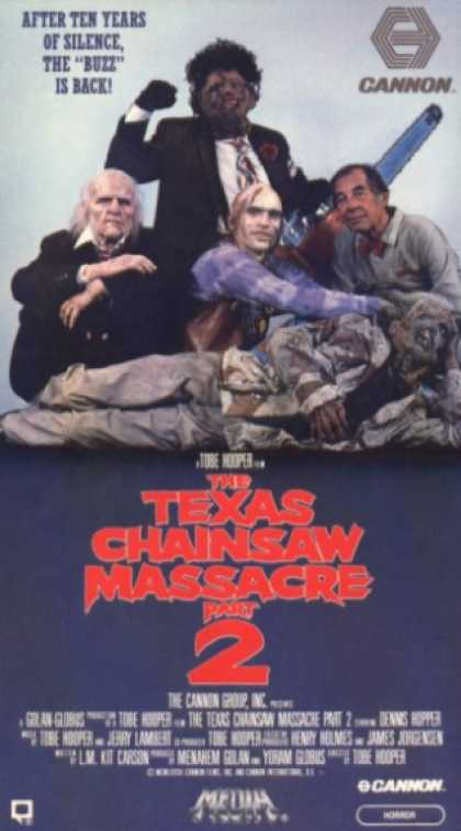 The Texas Chainsaw Massacre 2 (1986) Comedy , Horror - R : A radio host is victimized by the cannibal family as a former Texas Marshall hunts them.