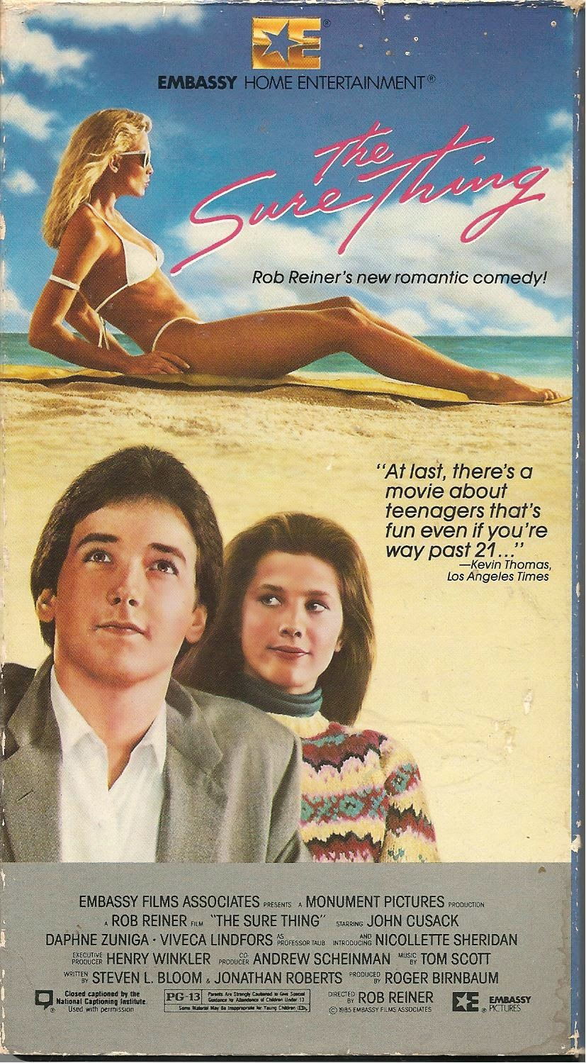 The Sure Thing (1985) Comedy, Drama, Romance , Rated PG-13 : A college student plans a cross-country trip to get laid, but ends up traveling with a young woman. They hate each other, so naturally...