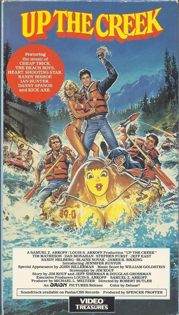 Up the Creek (1984) Comedy - R : An uproarious comedy in which a group of wacky college students take part in a raft race down a turbulent river. UP THE CREEK features an original soundtrack that includes songs by the Beach Boys, Heart, and Cheap Trick.